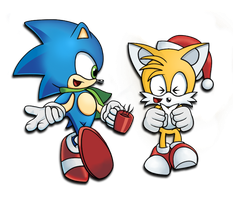Christmas with Sonic by MisterRgbPixels