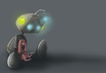The sad little Robot with the Pink Bunny by issabissabel