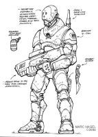 Security Officer Lineart by marcnail