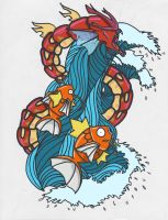 Red Gyarados tattoo by bbschoes
