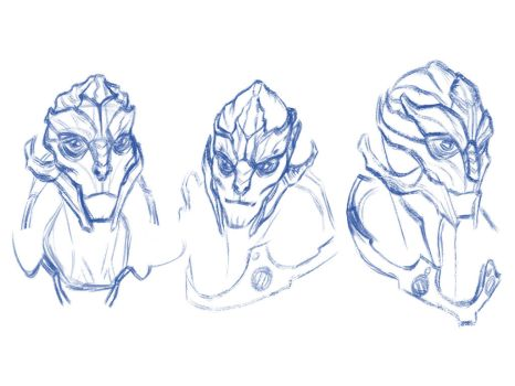 Turian Sketches by TangerineVampire