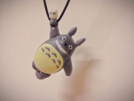 Totoro clay necklace by SallySherlocked