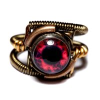 Steampunk Red Nebula eye Ring by CatherinetteRings