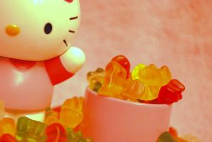 Hello Kitty and Gummy Bears by thedoorbell