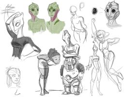Some Mass Effect Sketches by evilsherbear