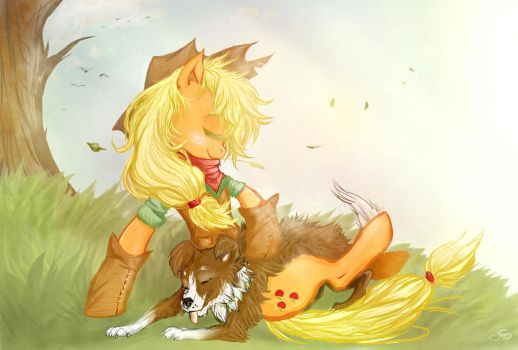 A Cowgirl and her dog by CruelSeptember