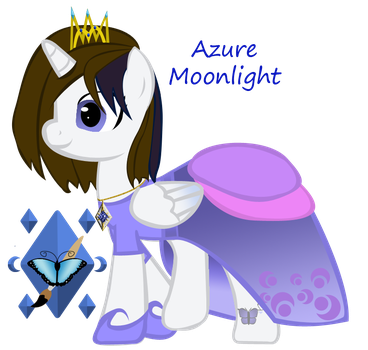 Azure Moonlight closed wings w/crown and dress by ebojf