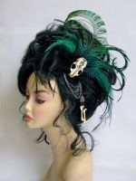 Peacock and Emu feather Headpiece by Genevieve-Amelia