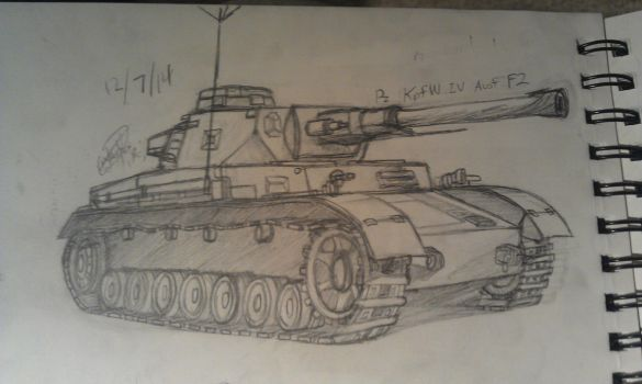 Panzer Kampfwagen IV Ausf F2 Sketch by Yunguy1