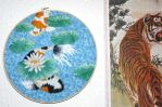 Embroidery hoop -Koi with Lily pads by Throughawolfseyes