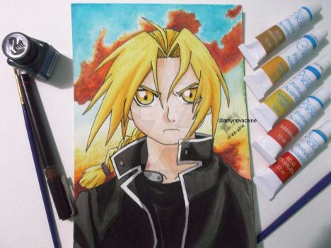 Edward Elric watercolor by AmyNovacaine