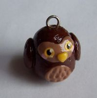 Polymer Clay Owl Charm by SeaOfCreations