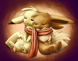 Eevee and Pikachu--Valentine's Day by Togechu