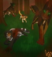 Chase trough the forest by Endytar