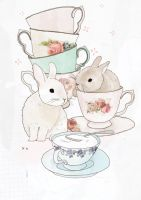 Bunnies and tea by tabithaemma