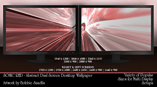 SONIC RED - Dual Screen Wallpaper Pack by StitcherLadyxx