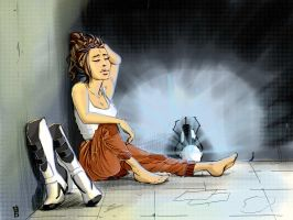 Chell Resting by DeviouslyMoo