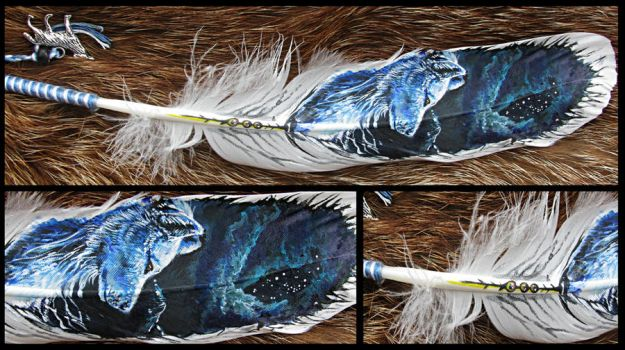 Paint on feather: White Wind by WolfRoad
