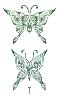 Celtic Luna Moths by TrollGirl