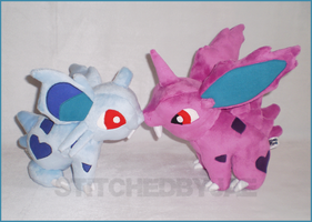 Pokemon: Nidoran Plush Set by sugarstitch