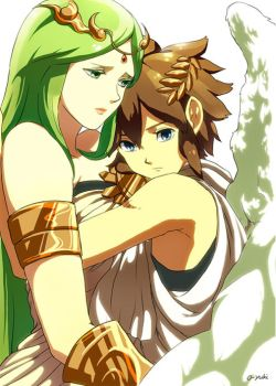 pit and palutena by o-yuki-san