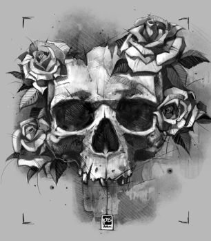 20170831 Skull + Roses Psdelux by psdeluxe