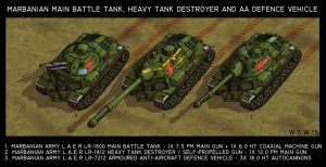 Marbanian MBT, heavy TD and armoured AA vehicle by wingsofwrath