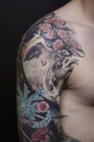 Japanese Tattoo Shoulder by Khalaiiss