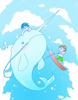narwhal skiing by wulfmune