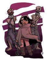 Michonne and her Zombies COLOR by GenevieveFT