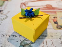 Yellow Origami Gift Box by ReverseCascade