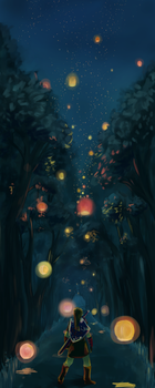 Link and Lanterns by SosinSoup