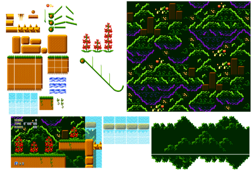 Jungle Zone Sprites by Cansin13Art