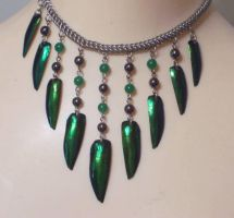 Beetle Shell Bib Necklace by hwkwlf