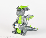 Silver and Green Xbox Dragon by HowManyDragons