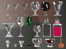 Wine Glasses, Bottles And Tops PNG Stock by Roy3D