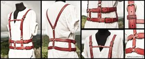 Red Leather Harness by Adhras