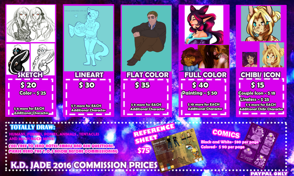 Kdjade 2016 Commission Prices by kharismaticdreams
