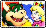 Bowser and Peach Stamp by FantasyFlixArt