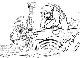 Pokemon Use Surf - Lineart