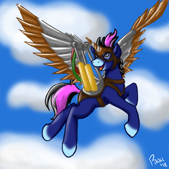 Commission: Bodger in Flight by Pikkinon