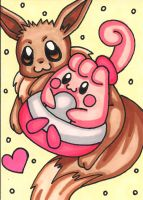 Eevee and Happiny ACEO