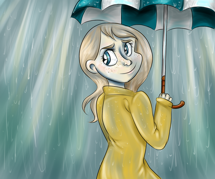 Ashley in the rain by sassbutt
