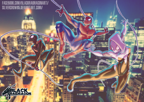 Spiderman, Ultimate Spiderman and Spider-Gwen by SilverCrow95