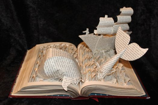 Moby Dick Book Sculpture by wetcanvas