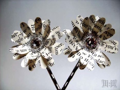 Paper Flower Bobby Pins by LitBotanica
