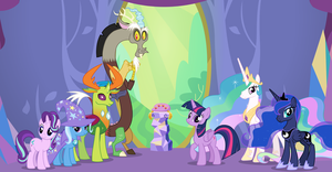 Twilight, Discord and friends by the castle door