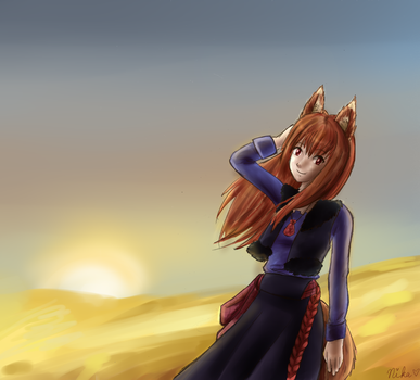 Wolf and Sunset by nika-chan