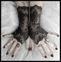 Arianna Long Lace Fingerless Gloves by ZenAndCoffee