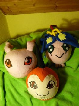 Three Digimon XD by Calzones-Plushies